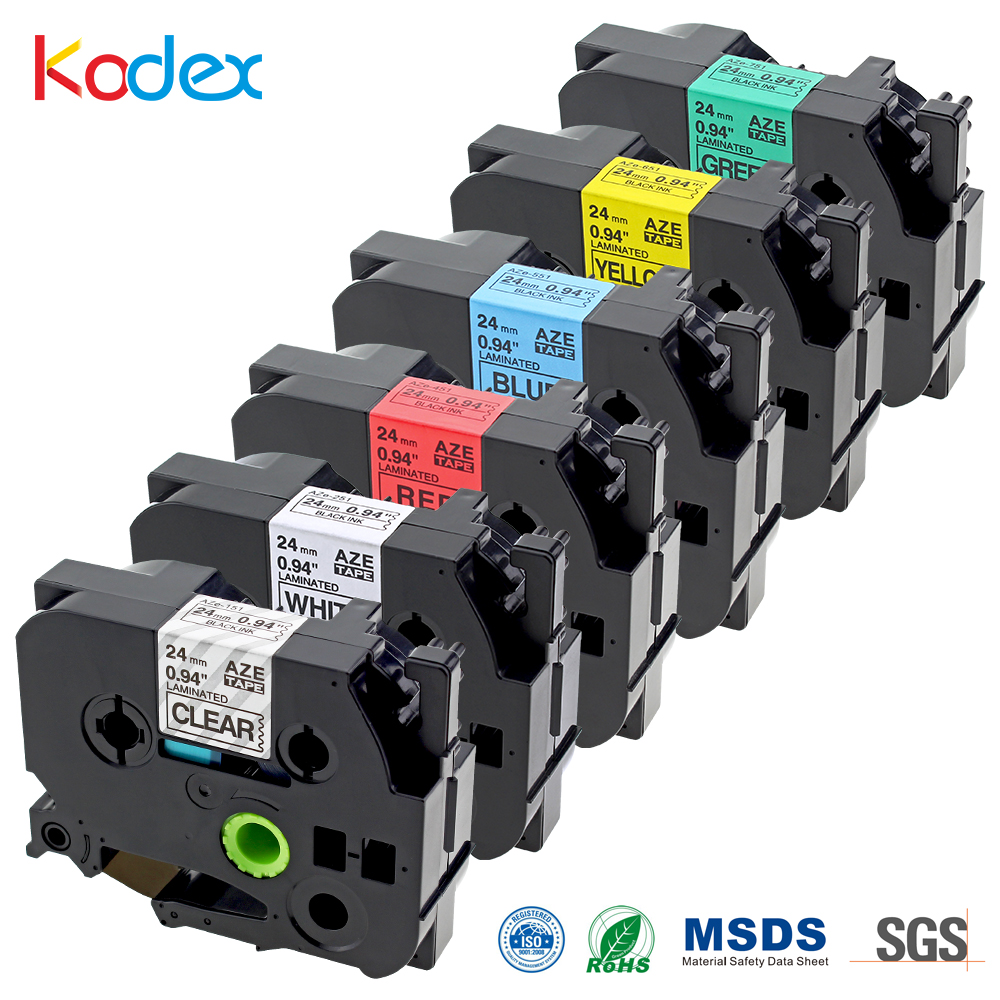 Kodex 6pcs tz tape 24mm compatible Brother P-touch label tapes TZ TZe TZ151 TZ251 TZ451 TZ551 TZ651 TZ751 printer ribbon maker brother tz 221 page 1