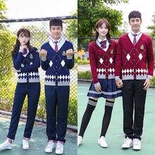 Autumn and winter Korean high school students sweater college wind British class service jk uniform suit