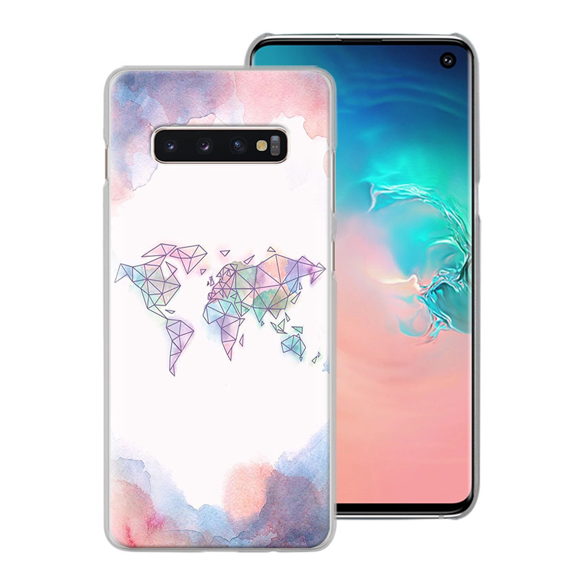 World Map Travel Plans Phone Case for Samsung Galaxy S10e S10 Plus S7 S8 S9 Plus Note 8 9 M10 M20 M30 Hard Case Coque in Half wrapped Cases from Cellphones Telecommunications