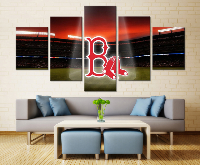 5 Pieces Modern Cute Boston Red Sox Wall Pictures High Quality Wall Art  Pictures Home Decorative