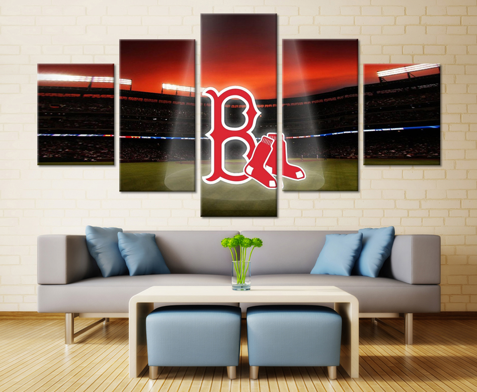 5 Pieces Modern Cute Boston Red Sox Wall Pictures High Quality Wall Art  Pictures Home Decorative HD Canvas Oil Painting Bedroom