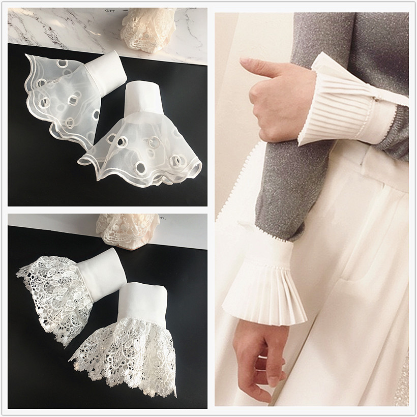 MIARA.L Joker White Lace Organza Lace False Sleeve Female Decorative Sweater False Hand Sleeve Arm Sleeve