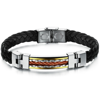 PU Leather Bracelets & Bangles New Hot Wholesale Stainless Steel Luxury Jewelry For Men Black Color Wrap Bracelet PH817