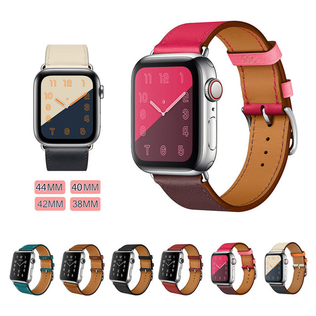 ff258279f2d Genuine Leather Watchband for Apple Watch Band 44MM 40MM Series 4 3 ...