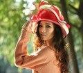2017 Vestido de Las Señoras Sinamay Iglesia Derby Boda del Cóctel Del Partido de La Vendimia Sol Viseras Boinas Gorra de Ala Ancha Fedora Nuevo Rojo