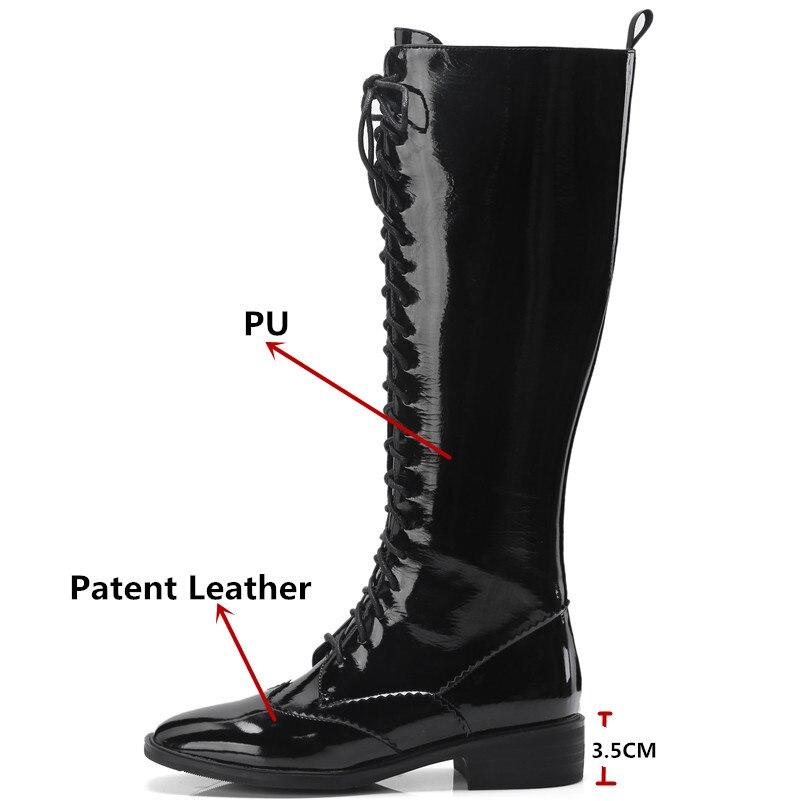 Zapatos Alta Tacones De La Mujer Marca Encaje Fedonas negro Invierno 1 Motocicleta Rodilla Hasta Moda Nueva Botas Cuero HqnFSZ