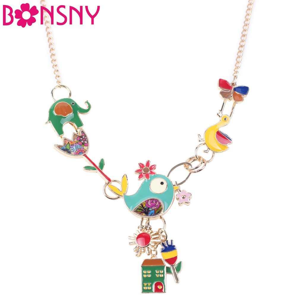 Bonsny Maxi Hợp Kim Elephant Bird Vịt Chuỗi Vòng Cổ Men Trang Sức Mặt Dây Đầy Màu Sắc New Fashion Jewelry Đối Với Phụ Nữ Tuyên Bố