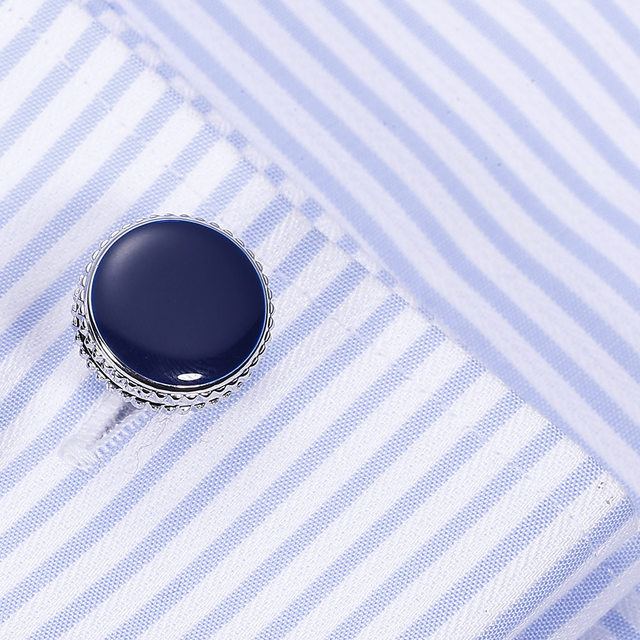 VAGULA Brass Cufflinks Classic Blue Enamel Gemelos Luxury Men Suit Shirt Cuff links gift 822 2