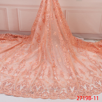 2019 Latest High Quality Embroidery Tulle Net Lace with Sequins French Mesh Lace African Sequins Lace for Party Dress AMY2719B-1