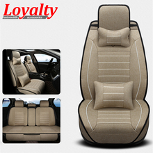 цена на Brand New styling Luxury Linen Car Seat Covers Front & Rear Complete Set for Universal 5 Seat Car Four Season Free Shipping