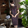 Free shipping Short Sleeve Women Dress Blend Cotton Qipao Cheongsam Dress chinese traditional Clothing Lace Qipao dress