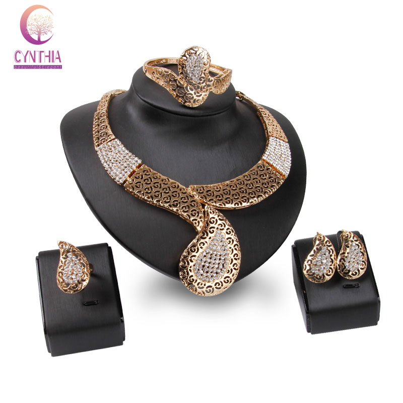 African Beads Rhinestone Jewelry Sets Summer Style gold color Bridal Wedding Accessories Necklace Bangle Earrings Rings Set