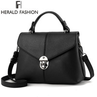 Herald Fashion Brief Women Handbag Solid Flap Shoulder Bag Top Handle Tote Bags 2017 New Arrival