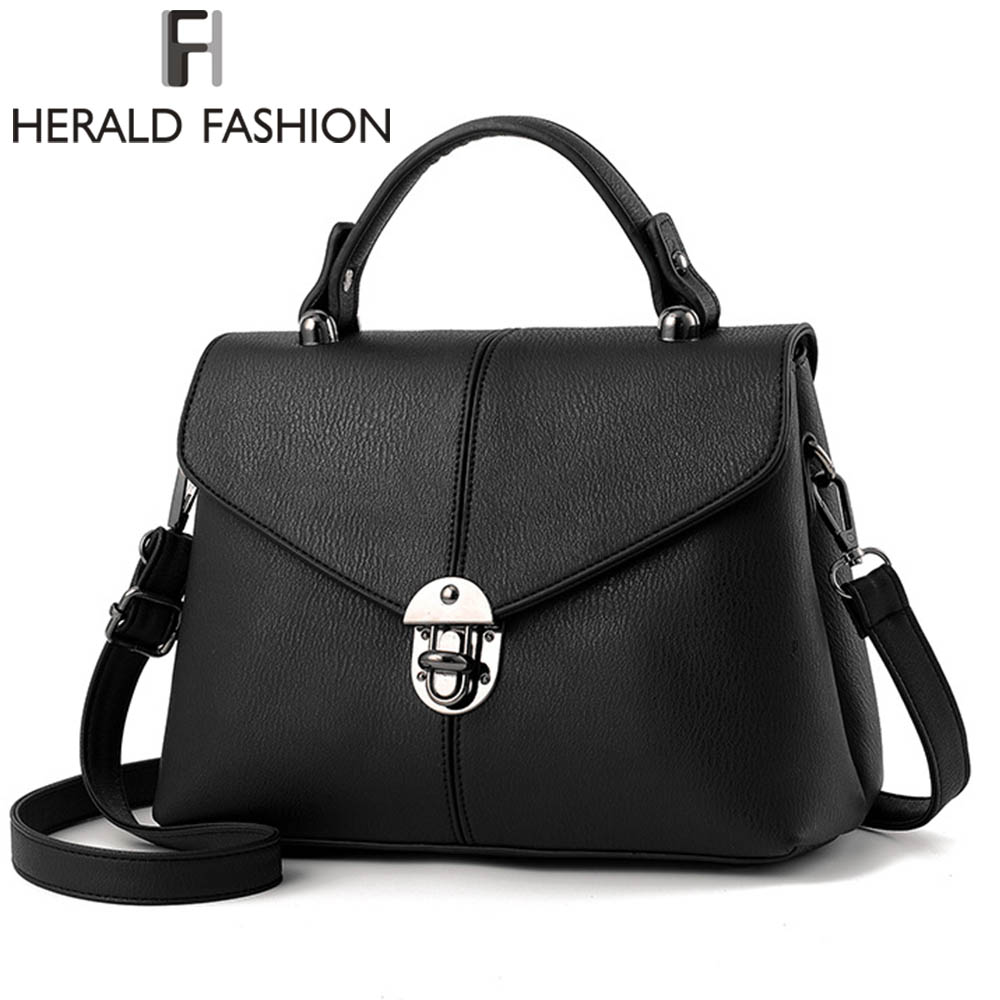Herald Fashion Brief Women Handbag Solid Flap Shoulder Bag Top-Handle Tote Bags 2017 New Arrival Ladies Messenger Bag new arrival messenger bags fashion rabbit fair for women casual handbag bag solid crossbody woman bags free shipping m9070