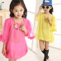 Girls dress Summer dress Kids Children Roupas infantis menina Flower sleeve loose chiffon dresses Hem closed Puff sleeve