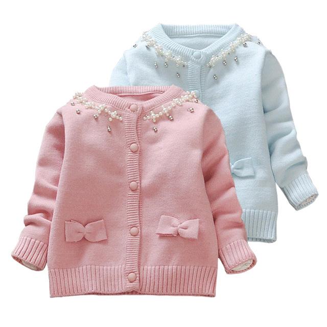 1-3 anos roupas de bebê camisola de outono 2016 novos pérolas beading princesa camisola cardgian camisola jaquetas casacos meninas da criança