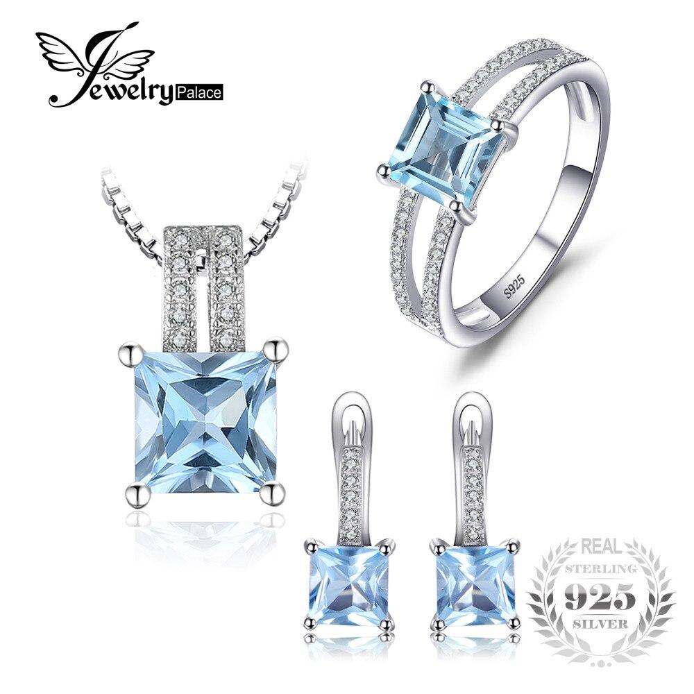2.8ct JewelryPalace Anel do Corte Da Princesa Do Aniversário de Casamento Sky Topázio Azul Colar Pingente de Hoop Brincos 925 Conjuntos de Jóias de Prata