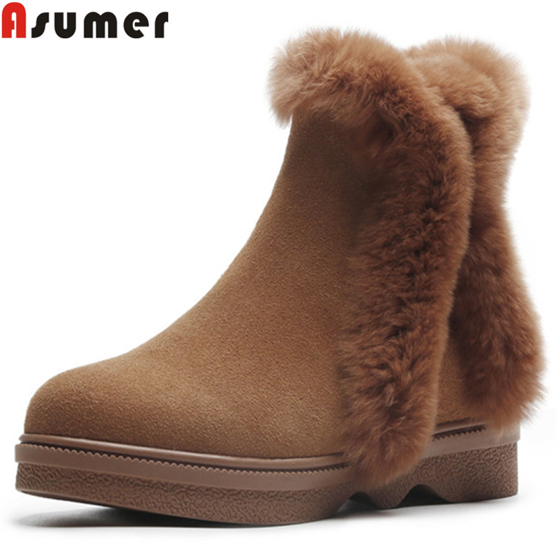 ASUMER fashion womens winter snow boots round toe zip ankle boots for women casual comfortable suede leather boots keep warm стоимость