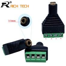 "3pcs Video AV Balun 3.5mm 1/8""stereo female to AV Screw Terminal Stereo jack 3.5 mm female 4 pin Terminal Block Plug connector(China (Mainland))"