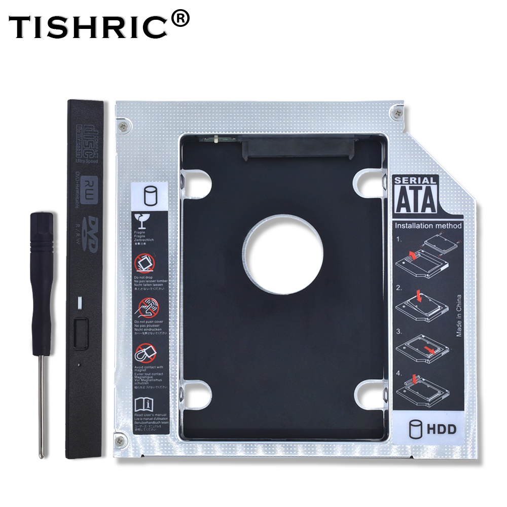 TISHRIC Universal Aluminum 2nd HDD Caddy 12.7mm SATA 3.0 CD DVD To HDD For 2.5'' SSD HDD Case Enclosure CD-ROM Optibay