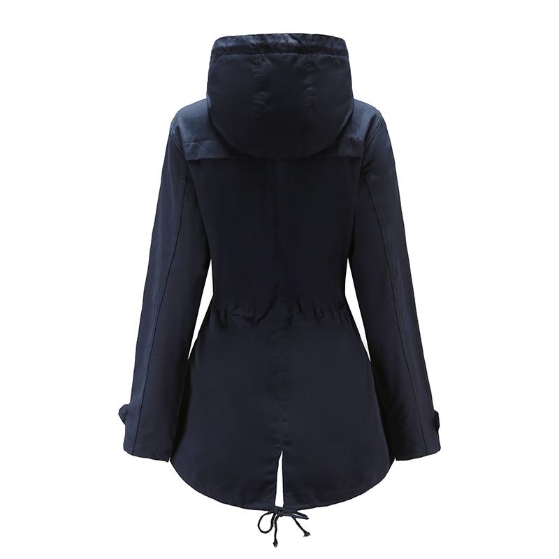 sale retailer db015 065a8 Giacca-a-vento-delle-donne -di-colore-solido-a-maniche-lunghe-con-cappuccio-lungo-cappotto-esterno.jpg