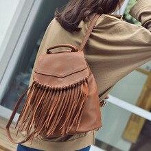 Модный кисточкой Рюкзаки для студентов в богемном стиле школы путешествия сумки Черный, серый цвет КОРИЧНЕВЫЙ однотонные женский рюкзак