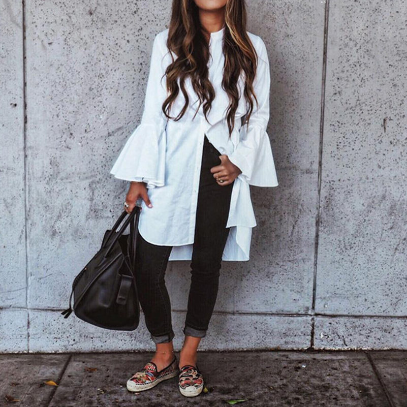 2018 Women White Flare Sleeve Shirt Dress Summer Fashion O Neck Straight Elegant Woman Bloues Casual Clothing Tops ~~