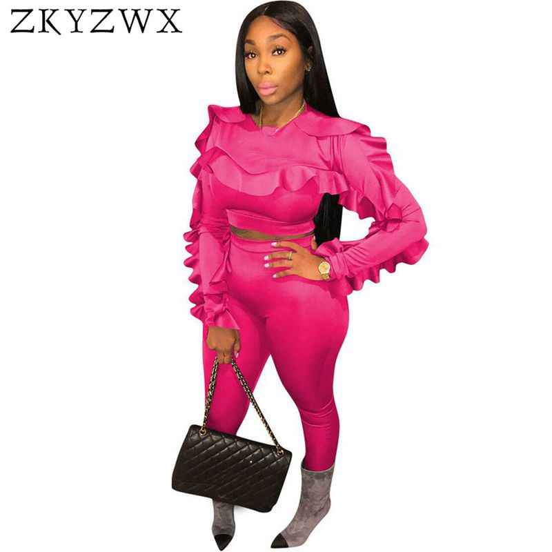 e4a1a63e9688 ZKYZWX Plus Size 2 Piece Outfits for Women Tracksuit Sexy Ruffle Long  Sleeve Tops+Bodycon