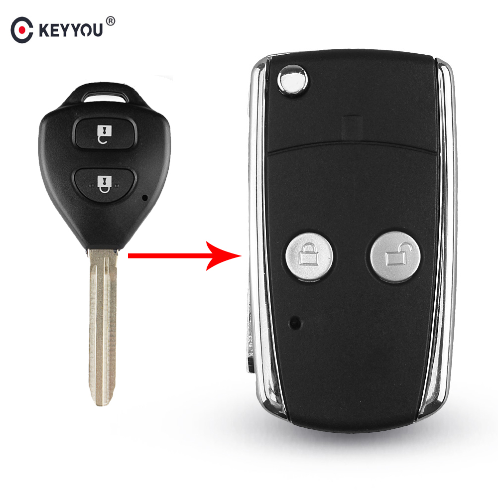 KEYYOU 3 <font><b>Buttons</b></font> Modified Flip Folding <font><b>Remote</b></font> Car <font><b>Key</b></font> Case Shell For <font><b>Toyota</b></font> Camry Corolla Avalon Echo <font><b>Avensis</b></font> Tarago Prado Toy43 image