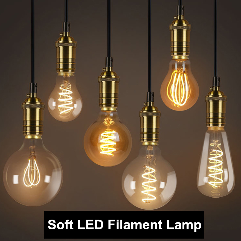 YNL Retro Edison Bulb Soft Spiral LED Filament bulb E27 220V 3W ST64 A60 G80 G95 G125 T45 T185 Retro lamp Light lighting decor винтажная лампа эдисон radio spiral g95 32 нити
