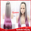 Fashion Ombre Gray to Pink Cheap Long Straight Synthetic Lace Front Wigs Glueless TwoTone Heat Resistant Wigs For Black Women