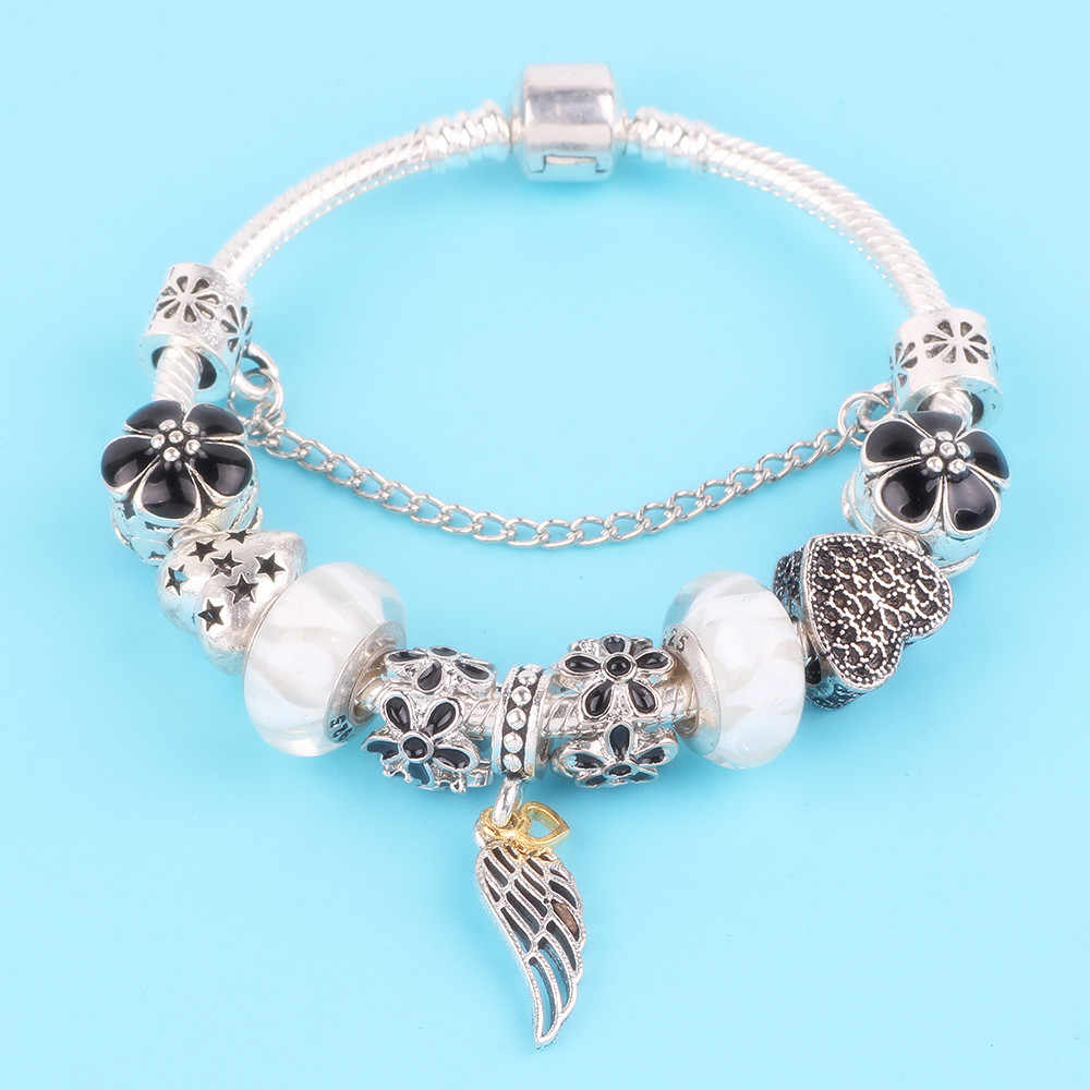 Couqcy Feather Pendant Hollow Bead White Glass Bead Fit Women Bracelet DIY Fashion Hot European Charm Feminine Jewelry
