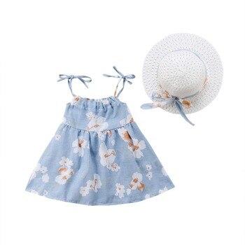Newborn Toddler Girls Summer Floral Tutu Dress Vestidos Kids Baby Girl Princess Dresses Sundress Hats 2PCS Clothing Set Sunsuit 2