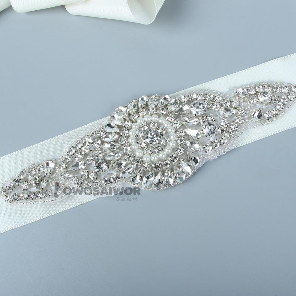 Shape Of Watch Crystal Rhinestone Wedding Dress Belt Diamante Pearls Wedding Sash Bride Favorite