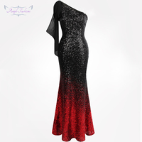 Angel fashions Women's One Shoulder Mother of Bride Dresses Gradient Sequin Contrast Color Ribbons Black Red 286