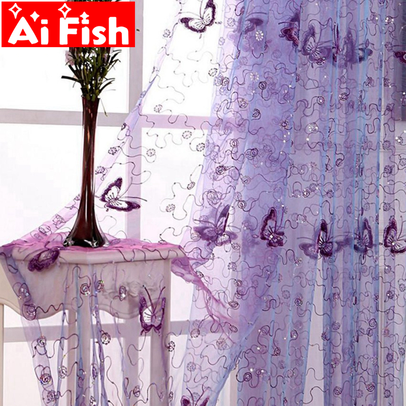 Screens Curatin Living-Room Romantic Embroidered Butterfly Classic French Sequin