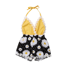 Cute Infant Baby Girls Romper Summer Girls V Neck Clothes Toddler Flower Romper Halter Jumpsuit Sunsuit One Piece Baby Clothing cute floral baby romper newborn infant baby girls summer v neck ruffles jumpsuit toddler kids outfits princess sunsuit