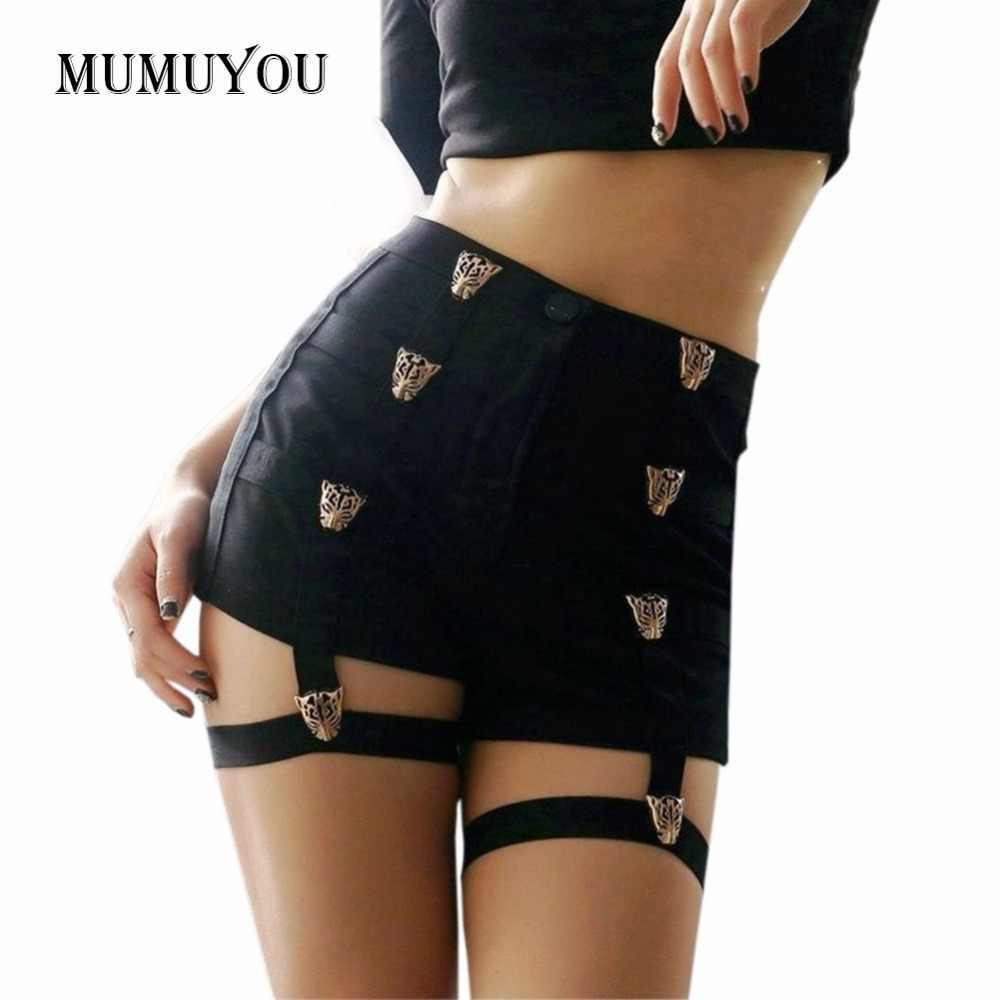 Пикантные женские шорты с высокой талией, в стиле панк-рок, бандажные, открытые, для танцевального шоу, вечерние, Клубные, популярные Короткие штаны, 200-955