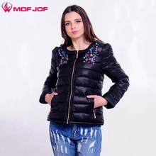 Mofjof Women thin jacket Women's Short spring jacket with zip O- neck long sleeve Rhinestone cotton-padded Outwear female jacket