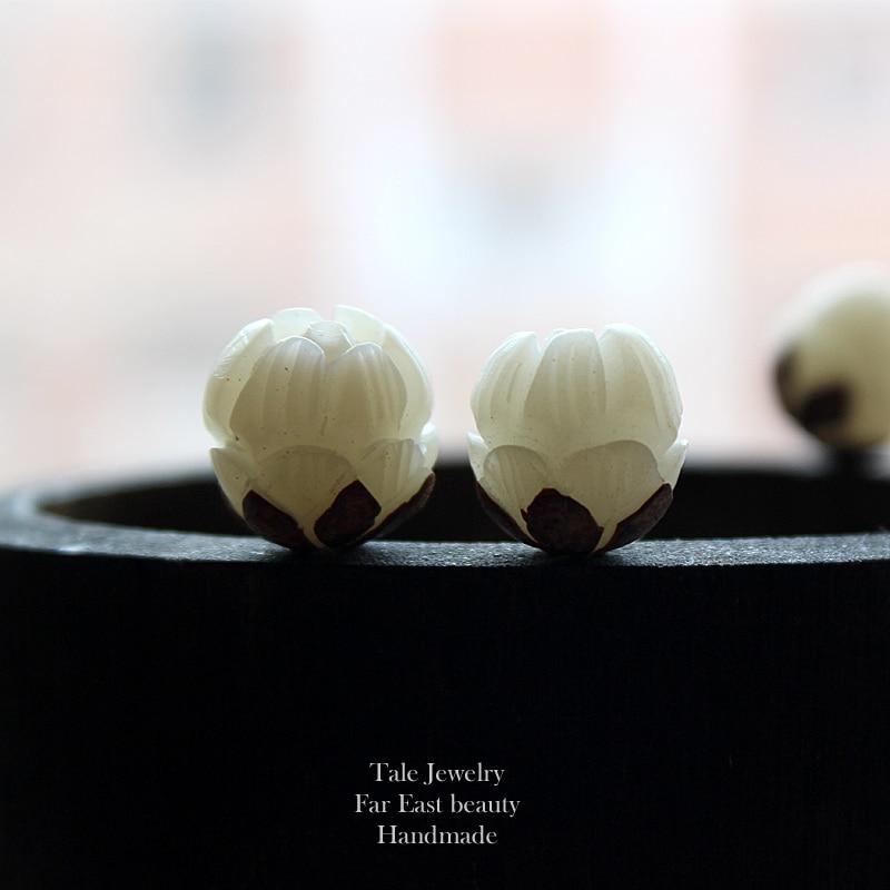 Bodhi Semillas Craft Cuentas Blancas Tallado Flor De Loto Perlas Mala Budista Tibetano