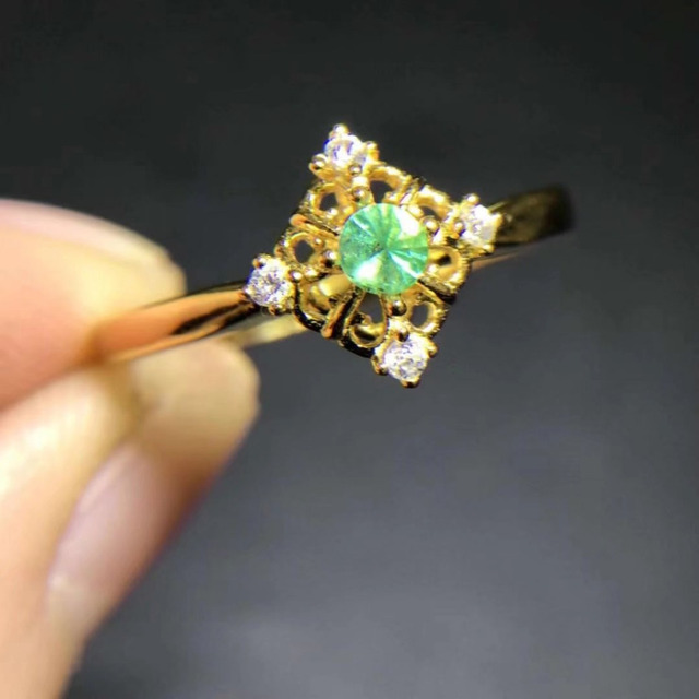 Small Retro square Hollow Natural green emerald gem Ring S925 Silver Natural gem stone Ring girl Women's party gift fine Jewelry