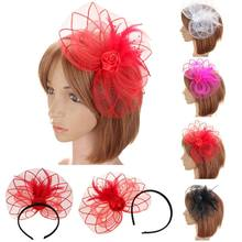 Flower Feather Fascinator Hair Bands Women Wedding Prom Hair Hoop Net Lace Bridal Headband Ladies Bride Vintage Hair Accessories(China)