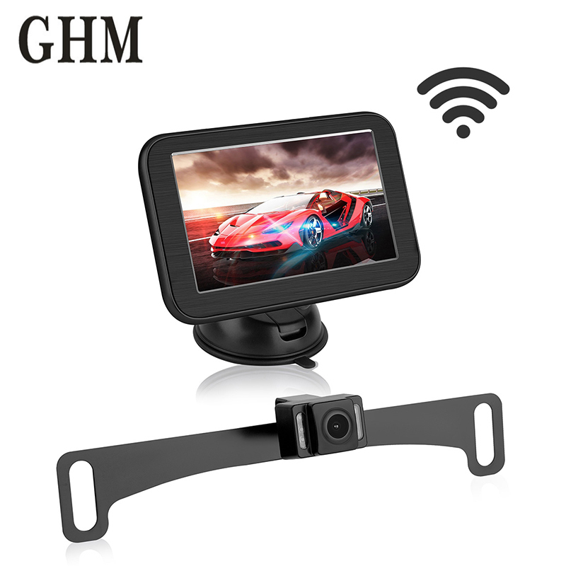 5 Inch In dash Car Monitor Screen Mirror With Monitor Hd Lcd Rear View Mirror Wireless Magnetic Bracket For Rear View Camera in Car Monitors from Automobiles Motorcycles