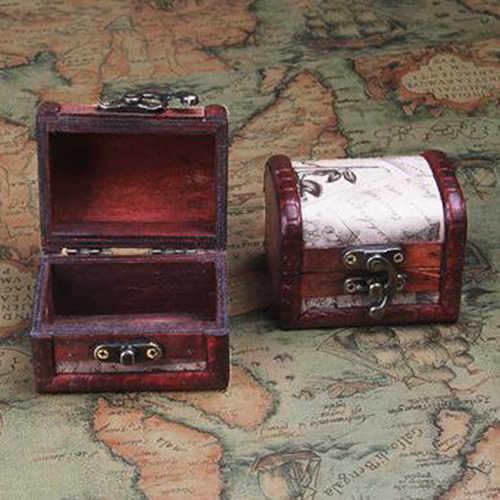 Boîte de rangement de bijoux en bois Style timbre rétro avec serrure en métal