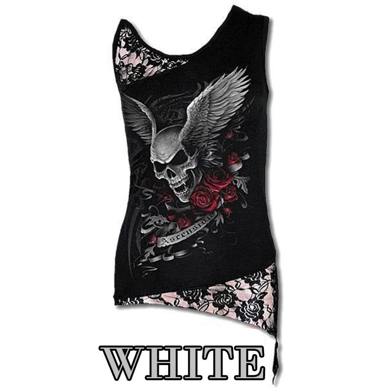 Ladies Clothing Boutique Fashion Women T-Shirt Sexy Skull Print Sleeveless Tee Shirt Lace Patchwork Black Tee Tops Punk Pullovers Plus Size LJ8403M