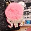 Прекрасный слон мешок подвески Ручной серебряный кристалл Брелки розовый Кролик волосы Мяч Автомобиль Брелки Милые Девушки Мешок Теги Мешок ошибка