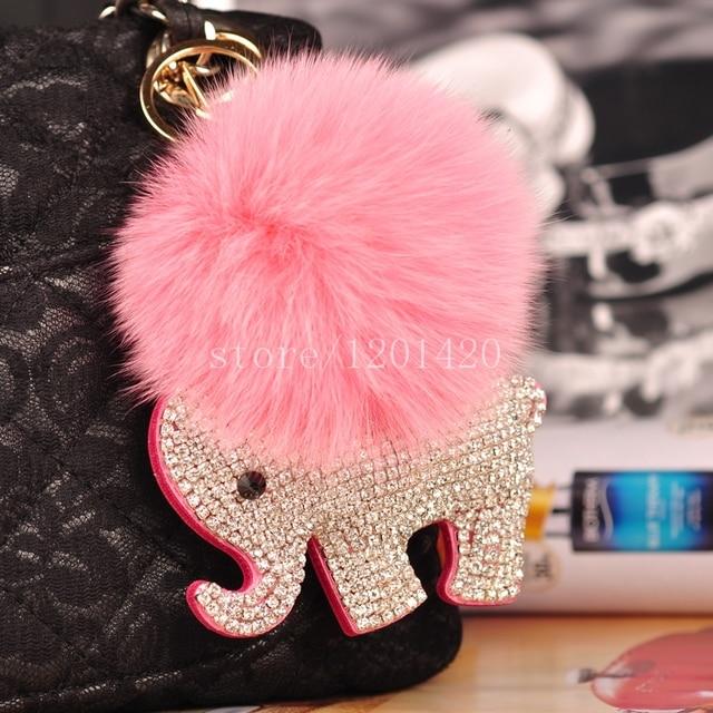 Precioso elefante bolsa encantos de plata Hechos A Mano de cristal Llaveros Conejo rosa Cadenas Dominantes Del Coche Bola de pelo Lindo de La Muchacha Bolsa de Etiquetas Bolsa Bug