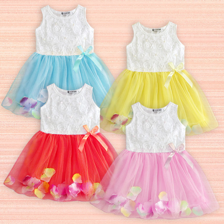 Girl Summer Chiffon Flower Princess Sleeveless Dress Kids Tutu Casual Dresses