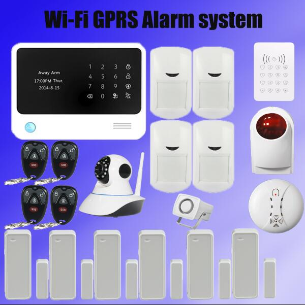 Original G90B WIFI GSM alarmsystem with GPRS,Touch keypad IOS Android APP controlled Home secure Alarm System with IP camera