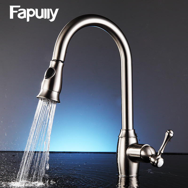 Fapully Pull Out Kitchen Faucet Sink Mixer Tap 360 Degree Rotation Brushed Nickel Cold And Hot Faucet cozinha xoxo kitchen faucet brass brushed nickel high arch kitchen sink faucet pull out rotation spray mixer tap torneira cozinha 83014